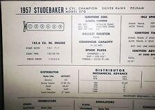 1957 Studebaker SIX Series 57G Models 185.6 CI L6 Tune Up Chart