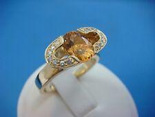 ORIGINAL LORENZO DESIGN 14K YELLOW GOLD CITRINE & DIAMONDS LADIES RING,6.2 GRAMS