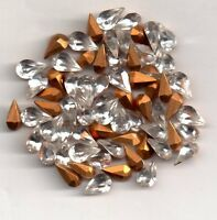 20 POIRES STRASS ARTICLE 4300/2 -  6X3.6 COULEUR CRISTAL SIMILI DORE