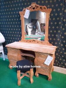 130cm Long Raw Unpainted 100% Mahogany Rococo Vanity Dressing table with mirror