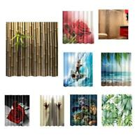 Fabric Decorative Shower Curtain Waterproof Polyester Bathroom Drapes with Hooks