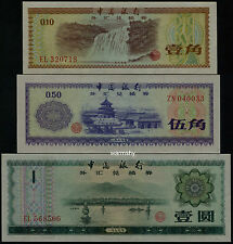 Bank of China 1979 Foreign Exchange Certificate 10 50 Fen 1 Yuan 3 PCS UNC