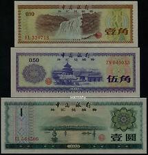 Bank of China 1979 Foreign Exchange Certificate 10 50 Fen 1 Yuan 3 PCS UNC