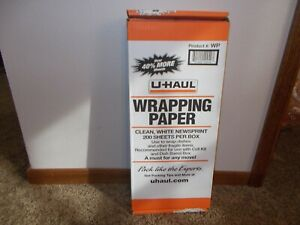 U-HAUL WRAPPING PAPER SHEETS - CLEAN WHITE NEWSPRINT PACKING MOVING PAPER