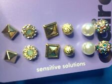 Six Pairs Claire's Gold Tone Rhinestone Encrusted Balls Faux Pearls Earrings New