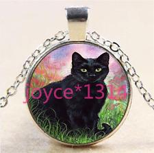 Vintage Black Cat Cabochon Tibetan silver Glass Chain Pendant Necklace #5826