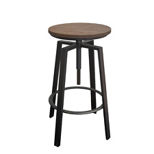 Turner Stool with Timber Seat Matt Black