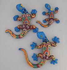 Set Of 3 Pcs  LIZARD-GECKO-IGUANA-Mexican-Talavera Hand Made Folk Art # 2