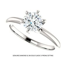 0.75 Carat Ideal Cut Genuine Diamond Solitaire Ring in 14k Gold