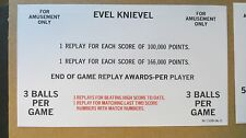 1977 Bally Evel Knievel Pinball Reproduction Score Card set