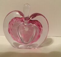 Art Glass Heart Shaped Pink and White Swirled Perfume Bottle with Glass Stopper