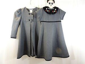 Bonnie Jean GIRLS 5 Gray Black Velvet Trim Dress Coat Set Christmas Rose Trimmed