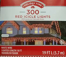 Set of 300 Red Icicle Christmas Lights, White Wire - 19ft (18ft Lighted)