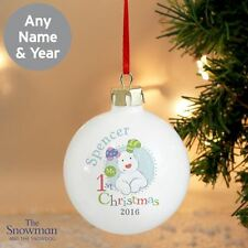 The Snowdog Personalised Babys 1st Christmas Tree Bauble Gift For Babies Blue