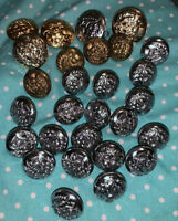Vintage Lot 8 Military Inspired Metal Buttons Mixed Lot Band Military Goldtone