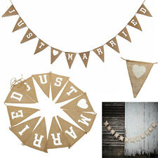 NEW JUST MARRIED Shabby Jute Burlap Hessian Bunting Wedding Party Banner UK