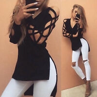 Lady Blouse Sexy Hollow Slim Bandage Lace Up T-Shirt Long Sleeve Casual Tops*