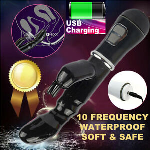 Women Vibrating G-spot Rampant Rabbit Vibrator USB Rechargeable Sex Toys Black