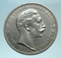 1912 GERMANY German States PRUSSIA WILHELM II Silver 3 Mark German Coin i78616