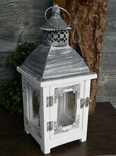 Laterne weiß antik Holz Metall Glas Windlicht Holzlaterne Hochzeit 33cm Ornament
