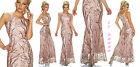 robe femme longue robe rose cérémonie fête rami à paillettes taille S,M,L,XL