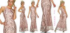vestito donna abito lungo rosa cerimonia party rami paillettes tg S,M,L,XL