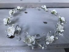 White Communion Girl Head Wreath Halo Circlet Head Dress Sparkly Beads Crown