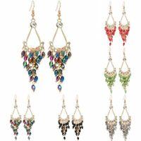 Women Crystal Tassel Geometric Earrings Dangle Jewelry Gifts Handmade Fashion