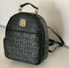 NEW! TOMMY HILFIGER BLACK LEATHER MINI TRAVEL BACKPACK BAG PURSE $88 SALE