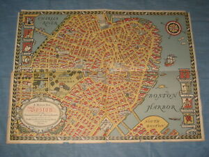 1929 MAP OF OLD BOSTON BY CHARLES R. CAPON