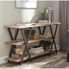 Modern Style Home Furniture X-Base Metal Base Two-Tone Wood Top Console Table