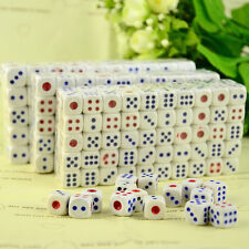 Lot of 10 White Plastic 12mm D6 Six Sided RPG Game Dice Set