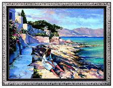 Large 32x42 HOWARD BEHRENS Original OIL ON CANVAS Painting Signed Art Ocean Sea