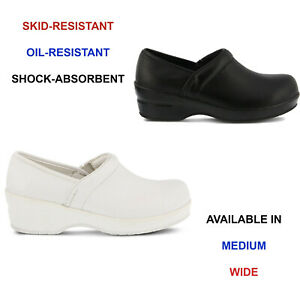Women Spring Step Selle Leather Slip On Shoes Slip Resistant Health Care Clogs