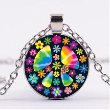 NEW Cabochon Glass necklace Silver/Bronze/Black pendant(FLOWER PEACE SIGN)