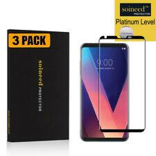 [3-PACK] SOINEED LG V30 V30+ Tempered Glass 3D FULL COVER Screen Protector Black