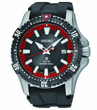 New Seiko SNE383 Solar Diver's 200M Black Rubber Strap Stainless Men's Watch