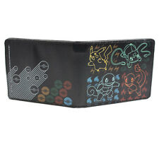Pokemon Starters Outline w/ Pokeballs Black Bifold Wallet NEW
