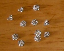 200 -Silver,Strong,Solid Bead Caps-6x6x3mm+FREE-50 earring hooks       (2B19)