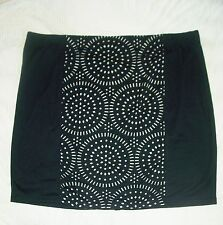 4X skirt JET BLACK womens laser cutout stretch waist 26 28W PLUS dressy L@@K