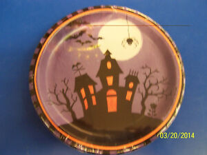 """Halloween Haunting Haunted House Full Moon Bats Party 7"""" Paper Dessert Plates"""
