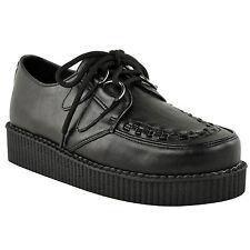 Chaussures Femme Semelle Compensée Plate Creepers Lacet Gothique Punk