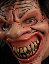 Mischevious Crazy Devil Smiling Mad Imp Scary Funny Adult Latex Halloween Mask