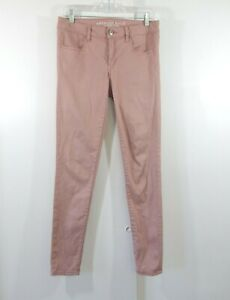 AMERICAN EAGLE jeans jegging legging mid rise stretch denim pink long 8 8L