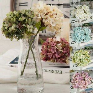 6 Heads Artificial Hydrangea Flower Bouquet Wedding Bridal Party Home Decors