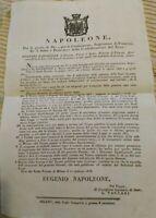1808 BANDO DI EUGENIO NAPOLEONE DA MILANO SU GUARDIE D'ONORE E VELITI REALI