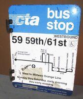 Vtg 2 Sided CTA Bus Stop 59 59TH ST/61ST Chicago Aluminum Sign 24 x 18 S656