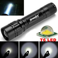 SkyWolfEye 50000LM T6 LED 3Mode 18650 Zoomable Focus Flashlight Mini Torch Lamp.