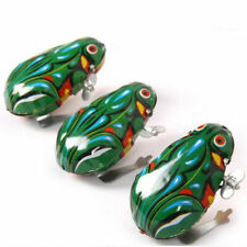 1 Wind Up Animal Jumping  Green Frog Retro Classic Clockwork Tin Toy Gifts New N