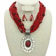 WESTERN Chunky Engraved Concho RED Seed Beads Necklace Set